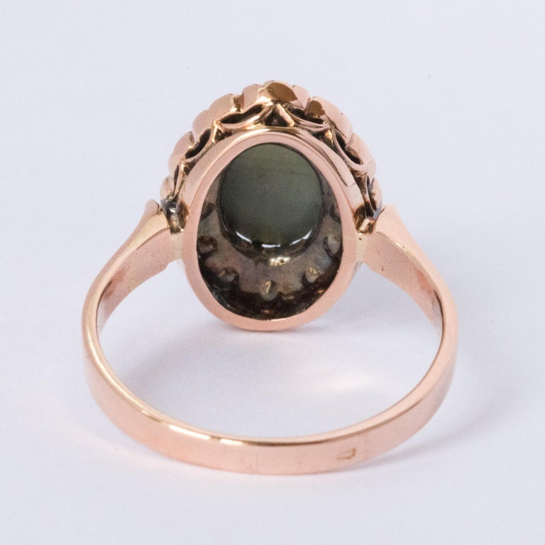 French 19th Century 18 Karat Rose Gold Chrysoberyl Cat's Eye Cluster Ring For Sale 11