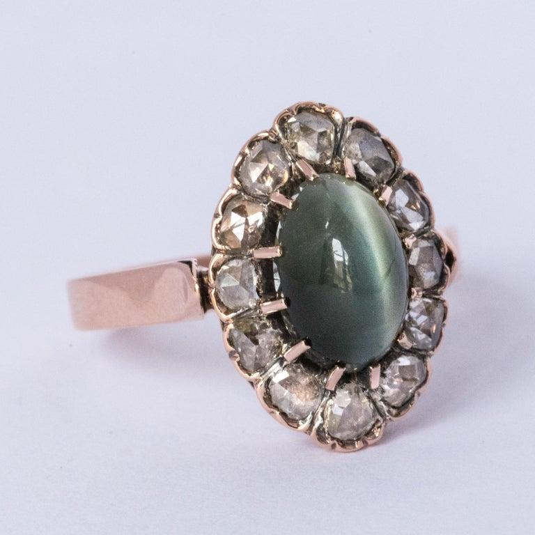 French 19th Century 18 Karat Rose Gold Chrysoberyl Cat's Eye Cluster Ring For Sale 12