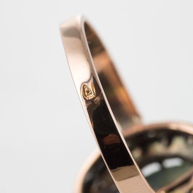 French 19th Century 18 Karat Rose Gold Chrysoberyl Cat's Eye Cluster Ring For Sale 14