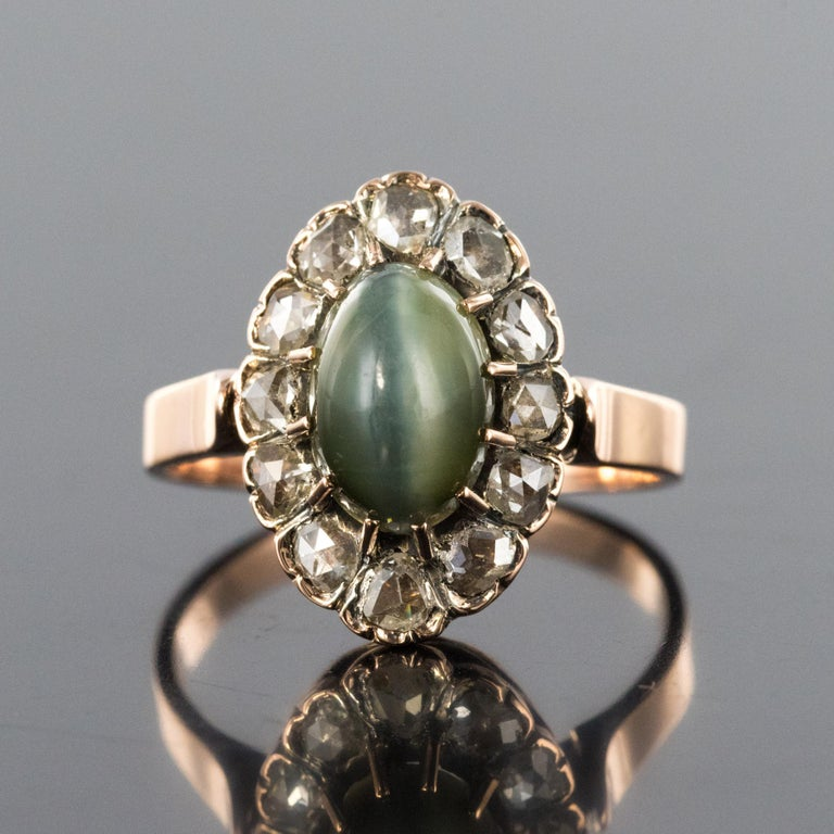 Napoleon III French 19th Century 18 Karat Rose Gold Chrysoberyl Cat's Eye Cluster Ring For Sale