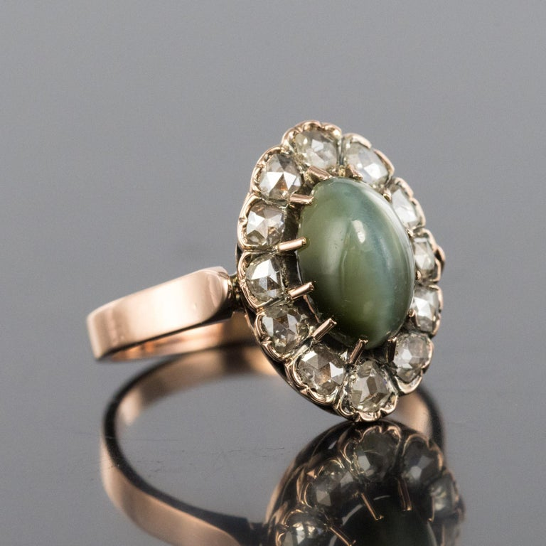 French 19th Century 18 Karat Rose Gold Chrysoberyl Cat's Eye Cluster Ring In Good Condition For Sale In Poitiers, FR