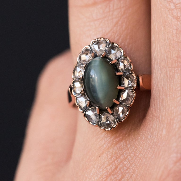 Women's French 19th Century 18 Karat Rose Gold Chrysoberyl Cat's Eye Cluster Ring For Sale