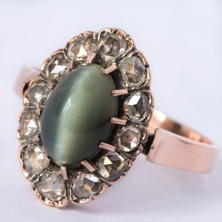 French 19th Century 18 Karat Rose Gold Chrysoberyl Cat's Eye Cluster Ring For Sale 2