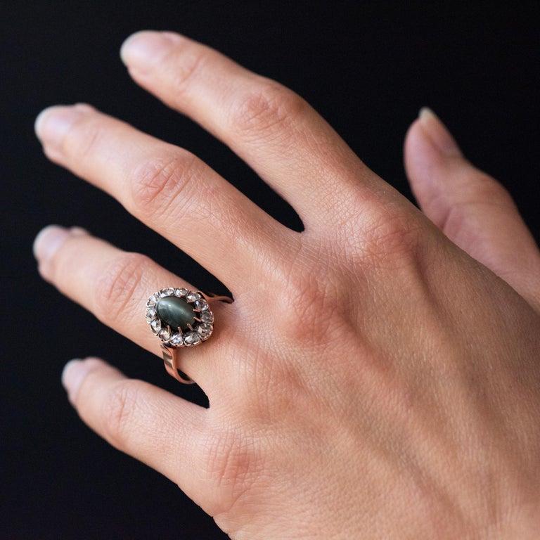 French 19th Century 18 Karat Rose Gold Chrysoberyl Cat's Eye Cluster Ring For Sale 3