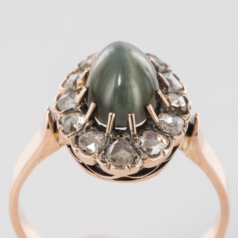 French 19th Century 18 Karat Rose Gold Chrysoberyl Cat's Eye Cluster Ring For Sale 4