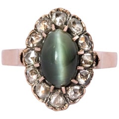 French 19th Century 18 Karat Rose Gold Chrysoberyl Cat's Eye Cluster Ring