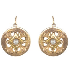 French 19th Century 18 Karat Rose Gold Natural Pearl Drop Earrings