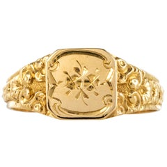 French 19th Century 18 Karat Yellow Gold Chiseled Thin Signet Ring