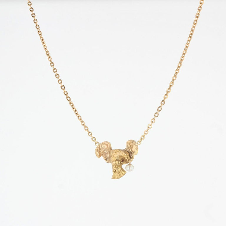 French 19th Century 18 Karat Yellow Gold Eagle Natural Pearl Chain Necklace For Sale 5