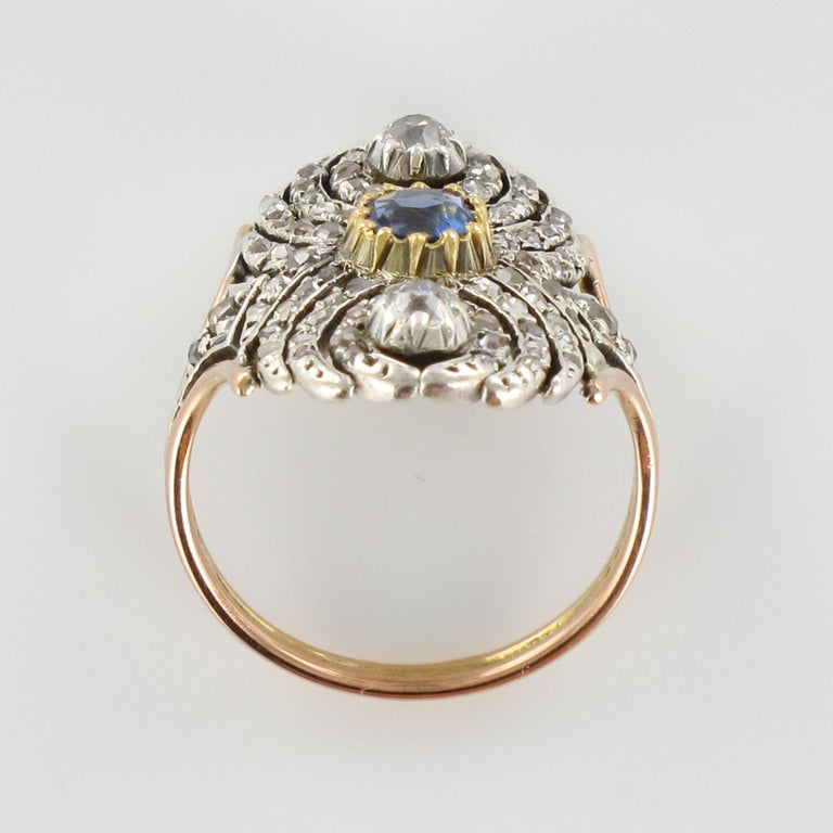 French 19th Century 18 Karat Yellow Gold Silver Sapphire Diamond Ring For Sale 5