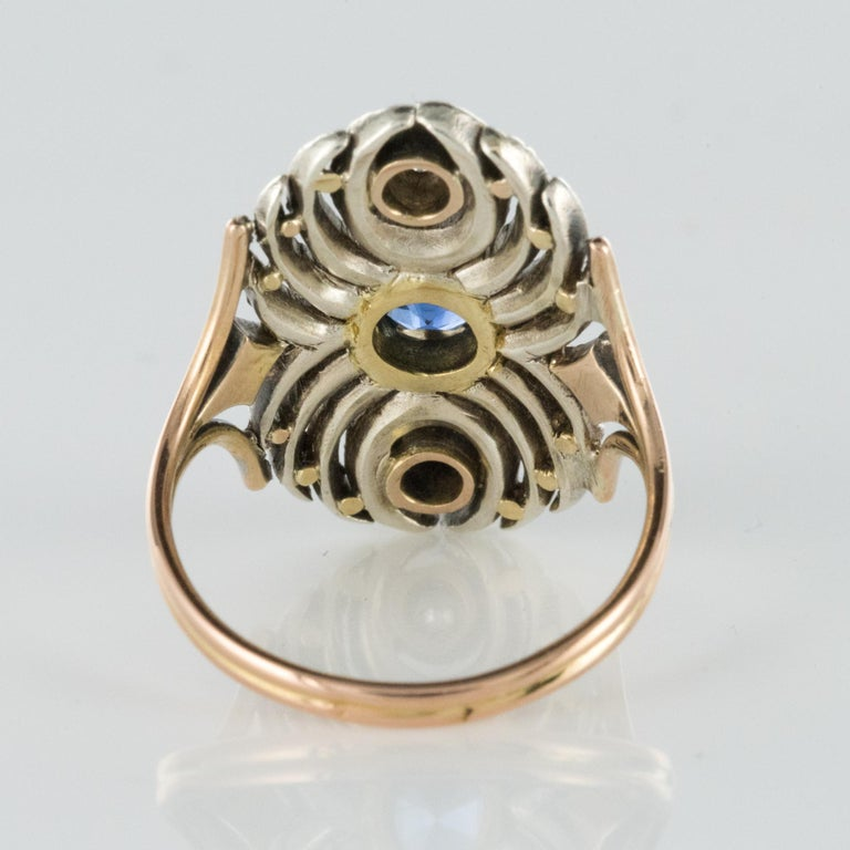 French 19th Century 18 Karat Yellow Gold Silver Sapphire Diamond Ring For Sale 6