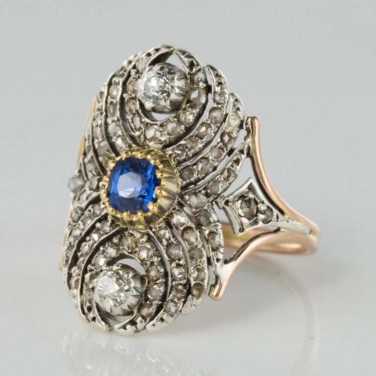 Napoleon III French 19th Century 18 Karat Yellow Gold Silver Sapphire Diamond Ring For Sale