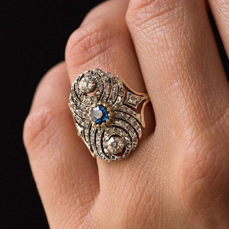French 19th Century 18 Karat Yellow Gold Silver Sapphire Diamond Ring In Good Condition For Sale In Poitiers, FR