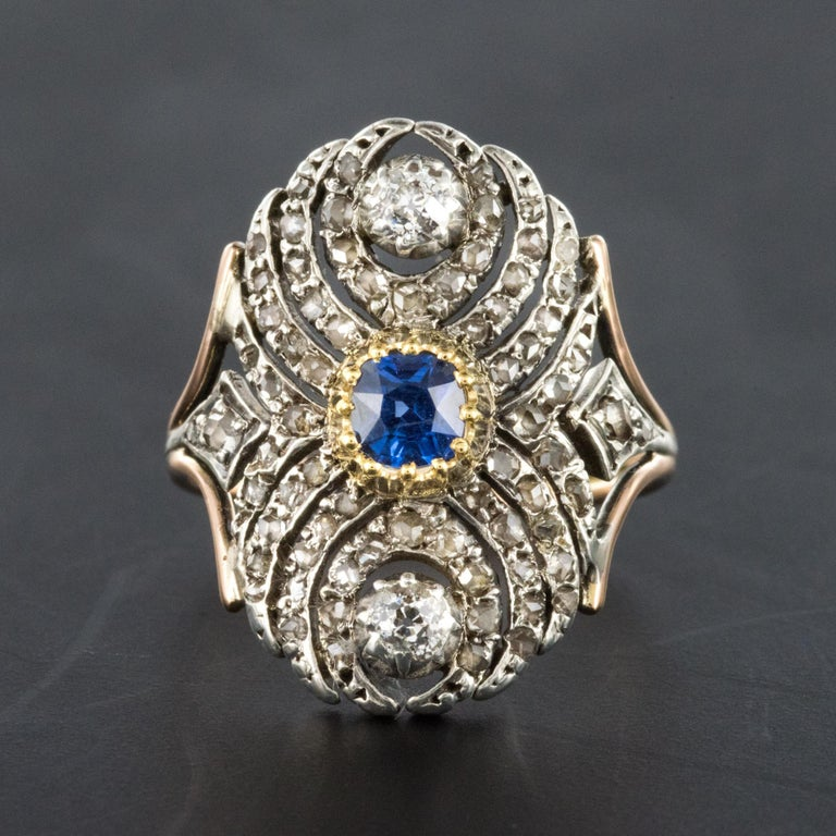 French 19th Century 18 Karat Yellow Gold Silver Sapphire Diamond Ring For Sale 1