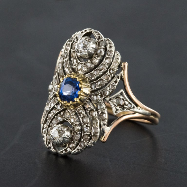 French 19th Century 18 Karat Yellow Gold Silver Sapphire Diamond Ring For Sale 2