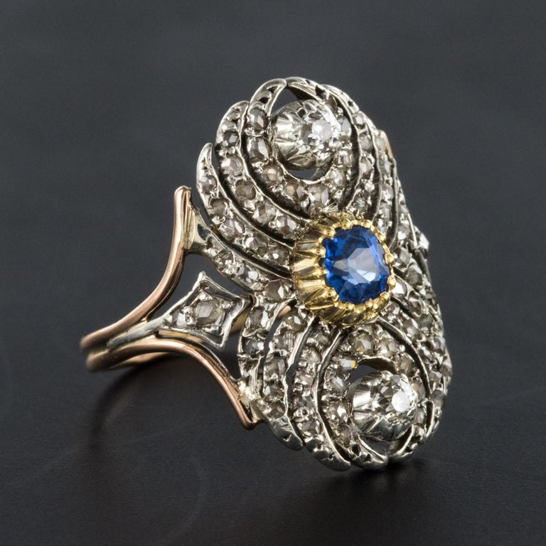 French 19th Century 18 Karat Yellow Gold Silver Sapphire Diamond Ring For Sale 3