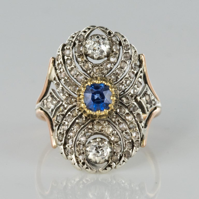 French 19th Century 18 Karat Yellow Gold Silver Sapphire Diamond Ring For Sale 4