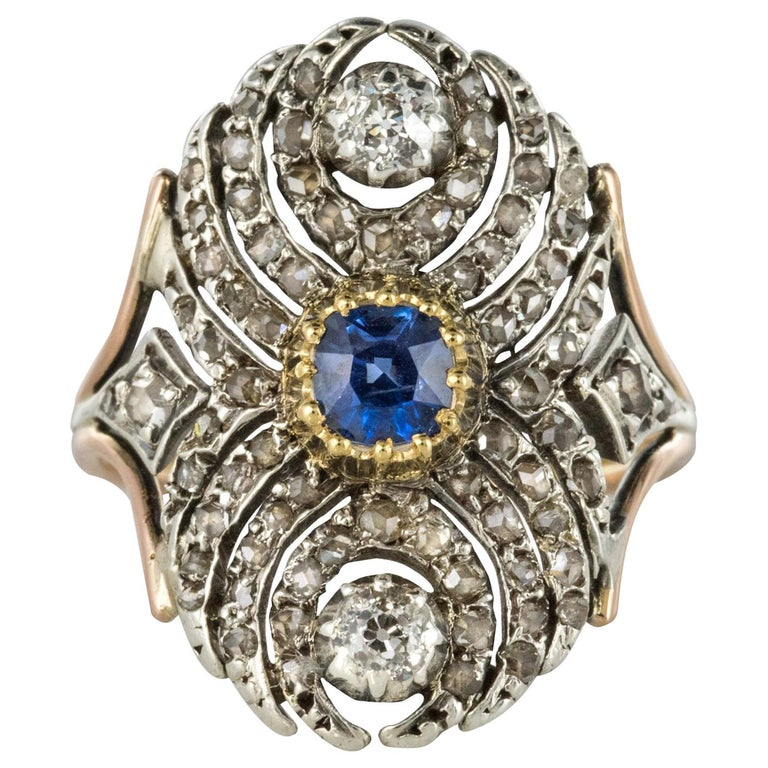 French 19th Century 18 Karat Yellow Gold Silver Sapphire Diamond Ring For Sale