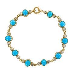 French 19th Century 7.50 Carat Turquoises Diamond 18 Karat Yellow Gold Bracelet