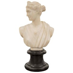 French 19th Century Alabaster Bust of Diana the Huntress