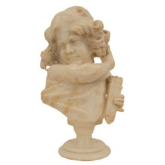 French 19th Century Alabaster Bust of Young Lady