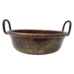 French 19th Century Antique Copper Preserving Pan with Tall Wrought Iron Handles