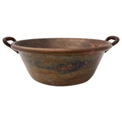 French 19th Century Antique Copper Preserving Pan with Wrought Iron Handles