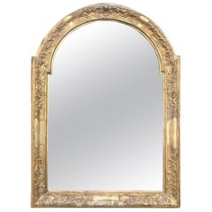French 19th Century Arched Mirror Carved Giltwood and Gesso Frame Mercury Glass