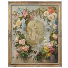 French 19th Century Aubusson Cartoon with Floral Decor Surrounding a Cherub