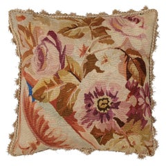 French 19th Century Aubusson Floral Tapestry Pillow with Petite Tassels
