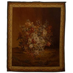 French 19th Century Aubusson Tapestry Depicting a Lively Bouquet of Flowers