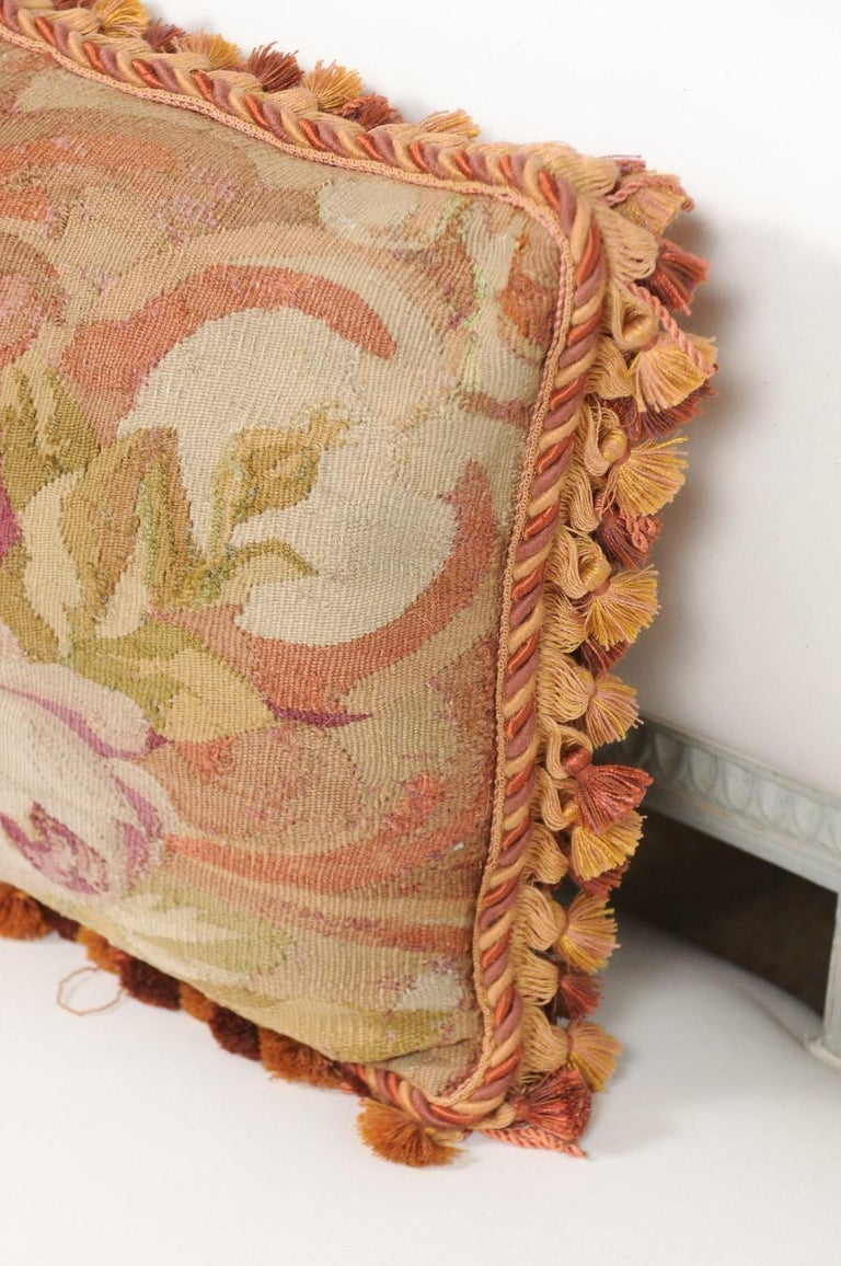 French 19th Century Aubusson Tapestry Pillow with Bouquet of Roses and Cording For Sale 2