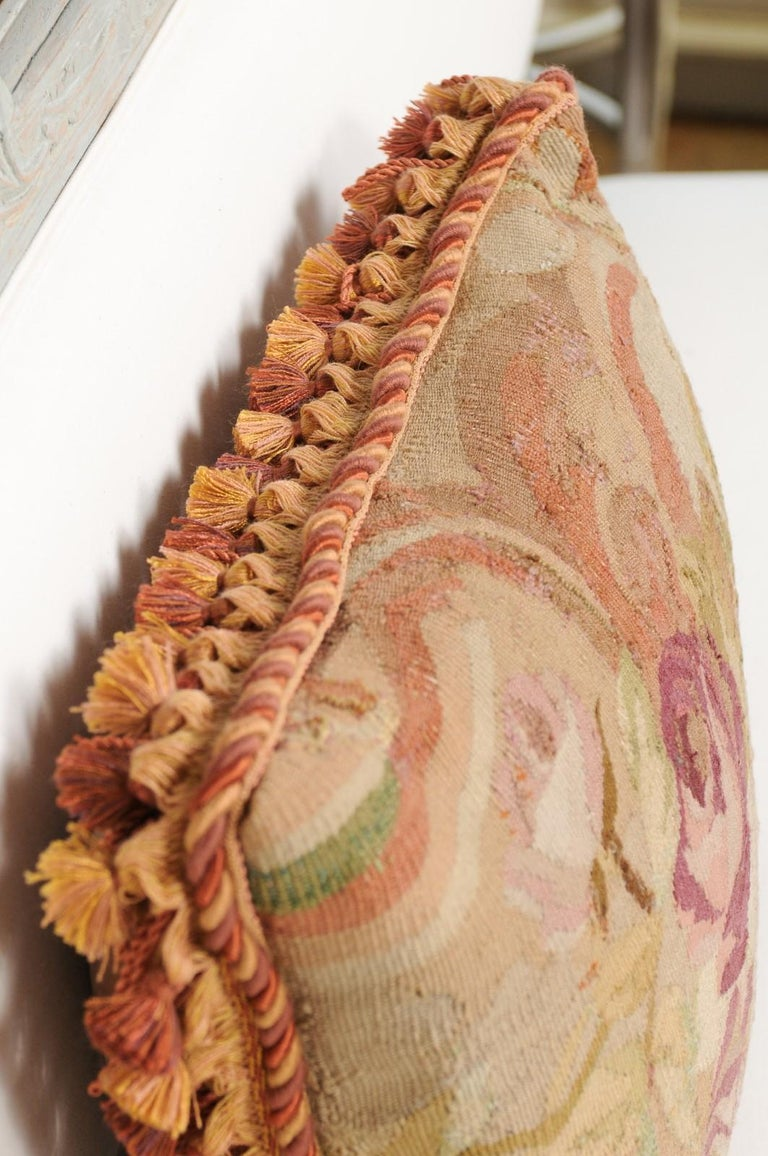 French 19th Century Aubusson Tapestry Pillow with Bouquet of Roses and Cording For Sale 4