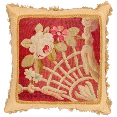 French 19th Century Aubusson Tapestry Pillow with Floral Decor and Tassels