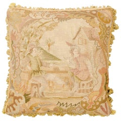 French 19th Century Aubusson Tapestry Pillow with Medieval Style Genre Scene