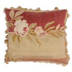 French 19th Century Aubusson Tapestry Pillow with Rose and Tassels