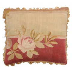 French 19th Century Aubusson Tapestry Pillow with Rose, Foliage and Tassels