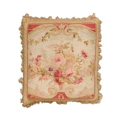 French 19th Century Aubusson Woven Tapestry Pillow with Bouquet and Tassels