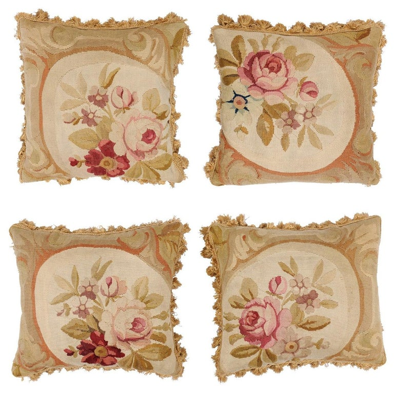 French 19th Century Aubusson Woven Tapestry Pillow with Roses and Tassels For Sale