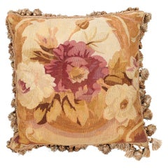 French 19th Century Aubusson Woven Tapestry Pillow with Roses Décor and Tassels