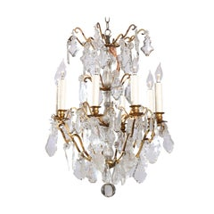 French 19th Century Baccarat Crystal Eight-Light Chandelier with Brass Armature