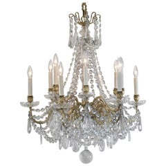 French 19th Century Baccarat Style Crystal and Bronze Chandelier