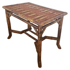 French 19th Century Bamboo and Cloth Occasional Table by Perret and Vibert