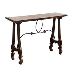 French 19th Century Baroque Walnut Console Table with Lyre Legs and Stretcher