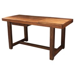 French 19th Century Beech and Oak Worktable from Burgundy