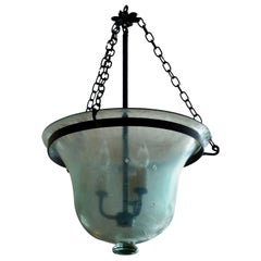 French 19th Century Bell Jar Pendant with Iron Chain Fittings and Frosted Glass