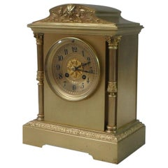 French 19th Century Belle Époque Brass and Gilt Mantel Clock