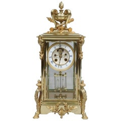 French 19th Century Belle Époque Brass Four Glass Mantel Clock