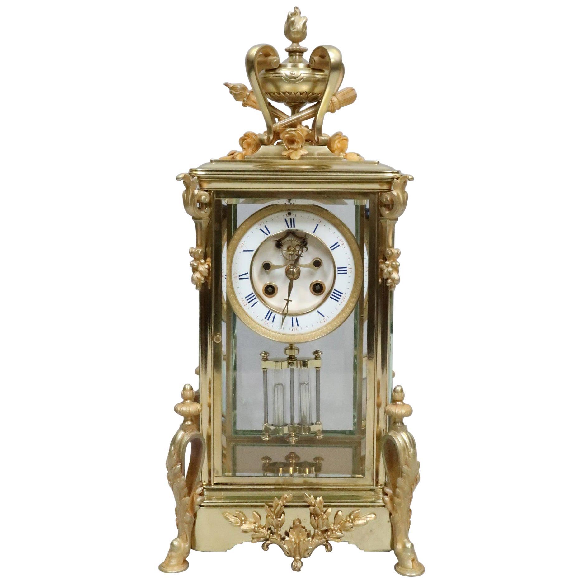 Handmade pendulum clock fine polished case 63 cm tall