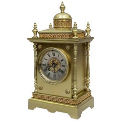 French 19th Century Belle Epoque Decorative Brass Mantel Clock by Japy  Frères